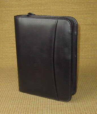 Compact Franklin Covey Black Sim. Leather 1 Rings Zip Plannerbinder