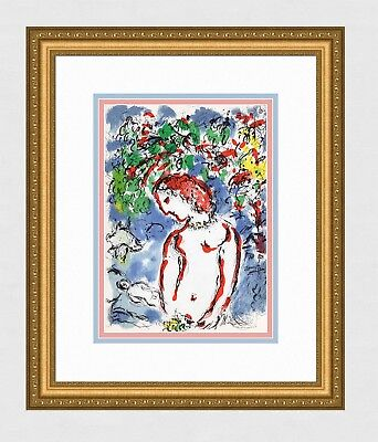 """Colorful Marc CHAGALL 1972 Original Color Lithograph """"Spring Beauty"""" FRAMED COA"""