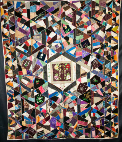 """Antique Crazy Quilt Dated 1888, Hand Made, Heavily Embroidered 68"""" x 57"""""""