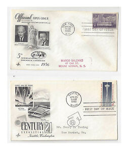 FDC-Lot-of-2-Sc-1076-1196-FIPEX-Seattle-Worlds-Fair-Art-Craft-Cachet