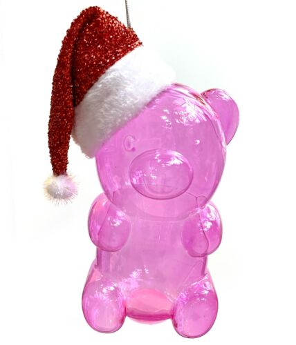 "10"" Big Christmas Tree Ornament Pink Gummy Bear Candy Santa Hat Huge Giant Large"