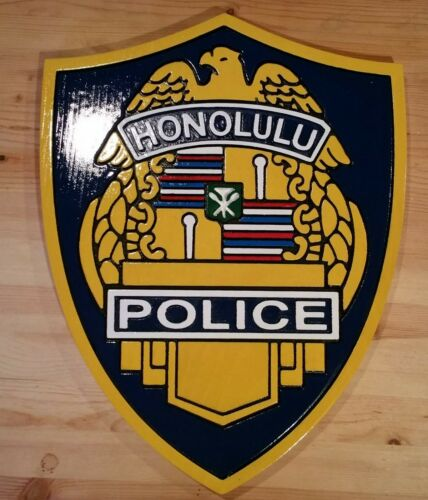 Police Honolulu  3D routed wood patch plaque sign Custom