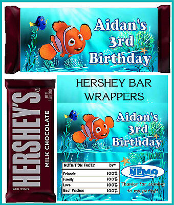 FINDING NEMO BIRTHDAY PARTY FAVORS CANDY BAR HERSHEY BAR WRAPPERS