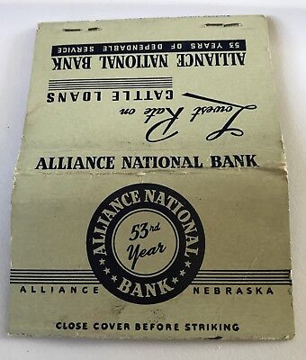 Old Matchbook Cover Alliance National Bank Alliance Ne