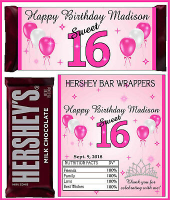 SWEET 16 SWEET SIXTEEN BIRTHDAY PARTY FAVORS CANDY BAR HERSHEY BAR WRAPPERS PINK - Sweet Sixteen Favors