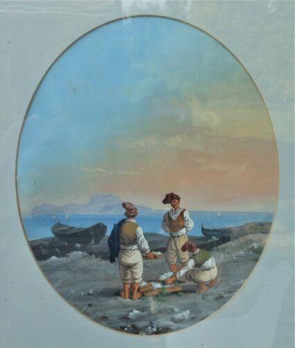 Wonderful Antique 19th Cen. Neapolitan Gouache Three Sailors With Fish