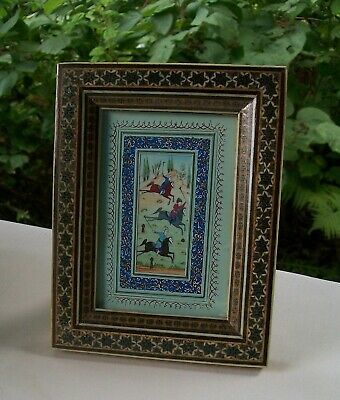 Hand Painted Persian Miniature of Polo Players in Khatam Marquetry Inlaid Frame