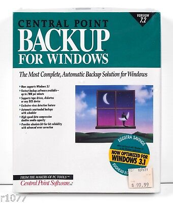 *NEW* Central Point Backup For Windows 7.2 *1990's VINTAGE SOFTWARE* *NOS*