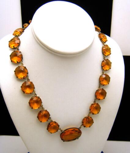 Art Deco Necklace Open Back Unfoiled Czech Topaz Glass Brass Findings