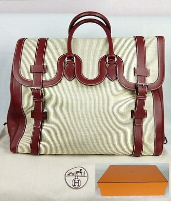 100% Authentic HERMES Large Tote Travel Duffle Drag Bag Canvas Leather MINT
