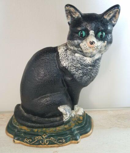 """VINTAGE CAST IRON DOOR STOP HAND PAINTED CAT KITTEN  APPROX 12"""" x 10"""" x 4"""""""