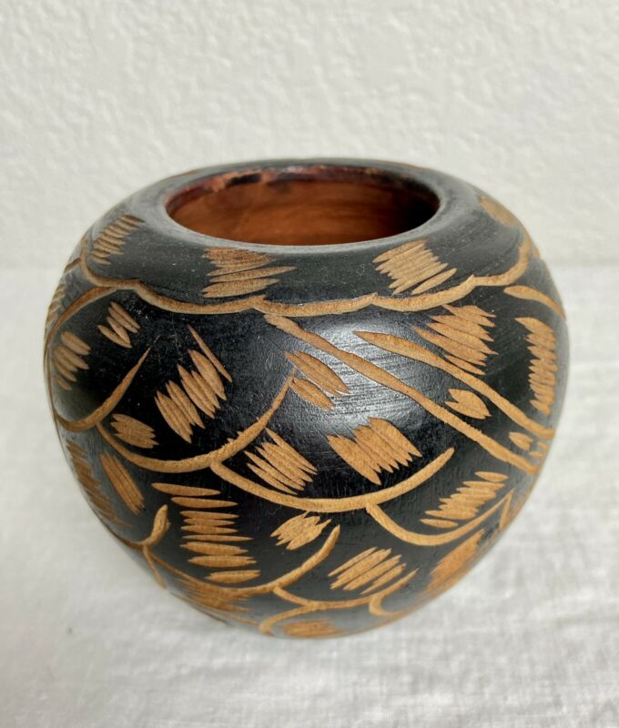 """Hand Turned Small Wooden Vase…4"""" Tall"""