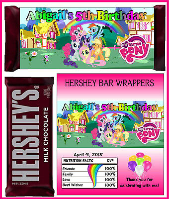 MY LITTLE PONY BIRTHDAY PARTY FAVORS CANDY BAR HERSHEY BAR - My Little Pony Birthday Favors