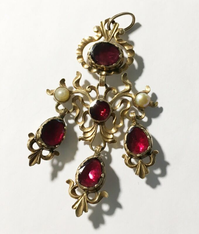 Antique Georgian 10k Drippy Garnet & Pearl Neckpiece/Pendant/Drop