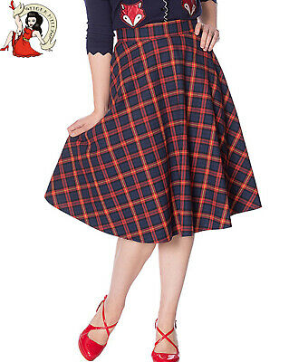 Mrs Claus Skirt (BANNED RETRO MRS CLAUSE SKIRT navy red CHECK tartan 50s vintage)