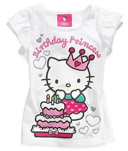 New Hello Kitty White/ Cerise Birthday Girl Top / Tee Shirt - SZ 4,5, 6