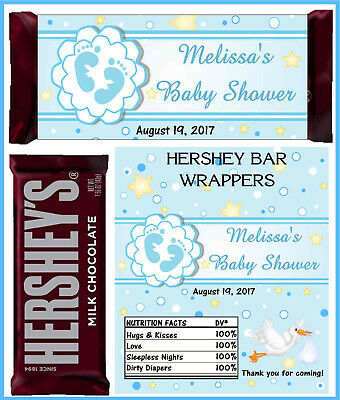 BLUE BOY BABY SHOWER FAVORS CANDY BAR WRAPPERS HERSHEY BAR - Baby Shower Candy Bar Wrappers