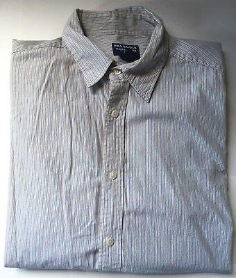 POLO JEANS CO RALPH LAUREN Men's White/Blue/Red Striped L/S ButtonFront Shirt L