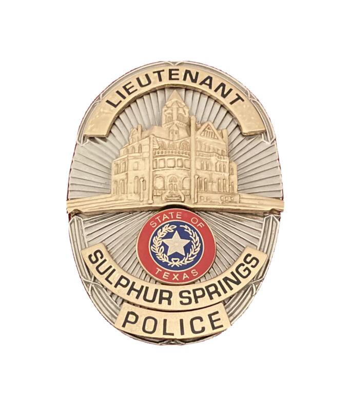 OBSOLETE SULPHUR SPRINGS TEXAS TX POLICE LIEUTENANT LT OVAL HOPKINS, RUSK COUNTY