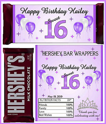 SWEET 16  SIXTEEN BIRTHDAY PARTY FAVORS CANDY BAR HERSHEY BAR WRAPPERS PURPLE - Sweet Sixteen Favors