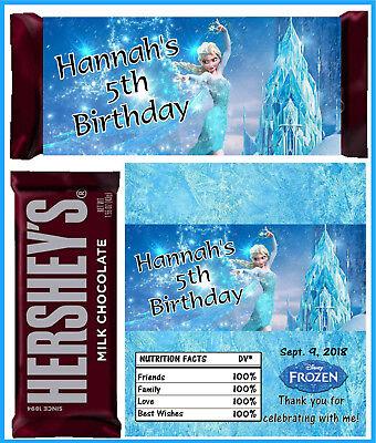 DISNEY FROZEN ELSA BIRTHDAY PARTY FAVORS CANDY BAR HERSHEY BAR WRAPPERS - Frozen Candy Bar