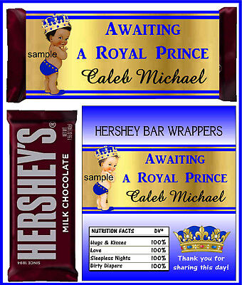 ROYAL PRINCE LITTLE PRINCE BABY SHOWER FAVORS CANDY BAR HERSHEY BAR WRAPPERS - Royal Baby Shower Favors