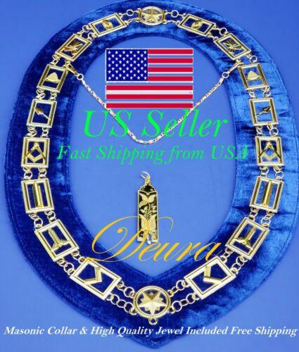Masonic Collar GOLD Link Blue Backing Master Mason Chain + Junior Warden Jewel