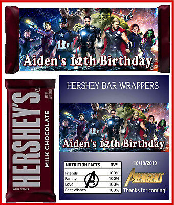 AVENGERS BIRTHDAY PARTY FAVORS CANDY BAR HERSHEY BAR WRAPPERS