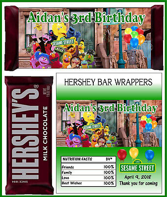 SESAME STREET BIRTHDAY PARTY FAVORS CANDY BAR HERSHEY BAR WRAPPERS](Sesame Street Birthday Party Favors)