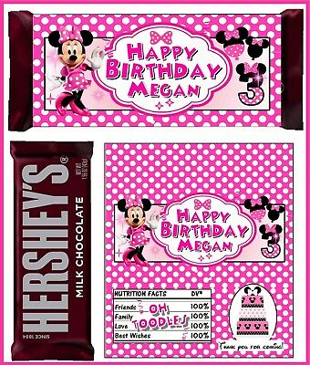 MINNIE MOUSE BIRTHDAY PARTY FAVORS CANDY BAR HERSHEY BAR - Candy Party
