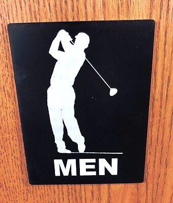 MENS Bathroom Sign - Golf Theme, Black/White, 6