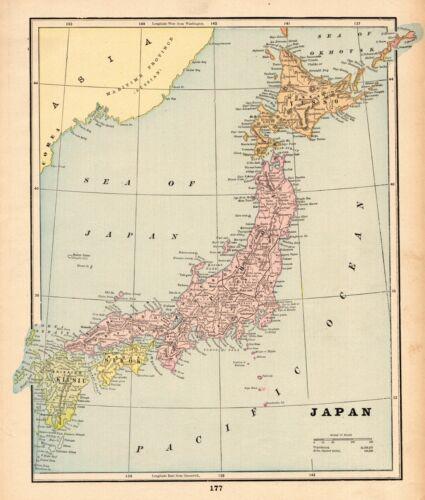 1895 Antique JAPAN Map George Cram Atlas Map of Japan Gallery Wall Art 7803