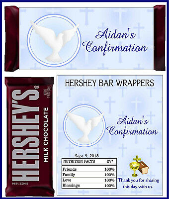 CONFIRMATION PARTY FAVORS CANDY BAR HERSHEY BAR WRAPPERS BLUE
