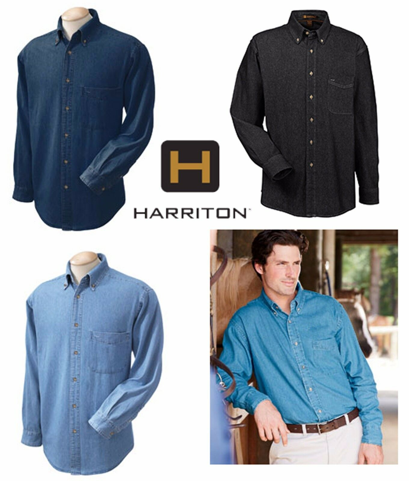 205d96013dd Harriton Men s 6.5 oz. Long-Sleeve Denim Button-up Shirt S-6XL M550 ...