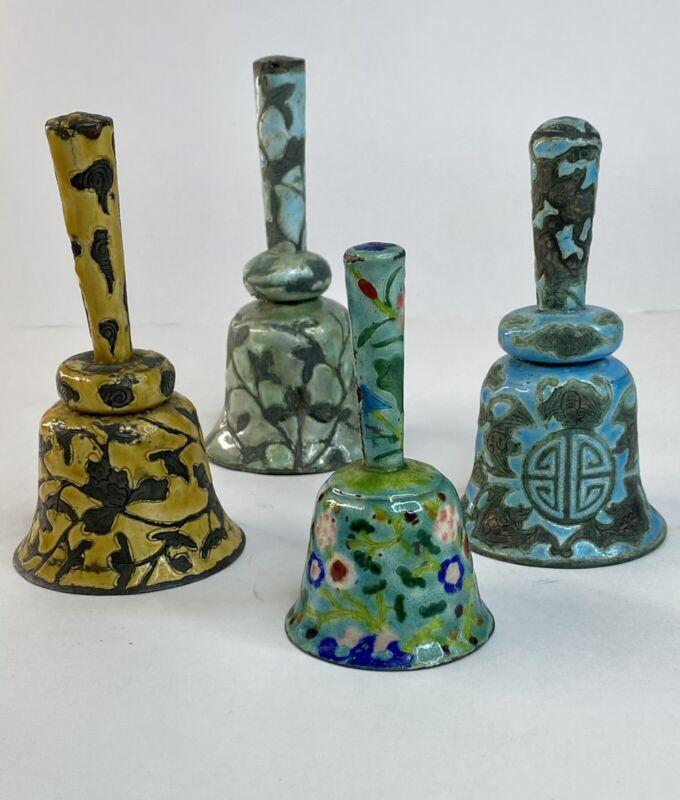 Antique Chinese Export Enamel Bells Asian Copper 1900
