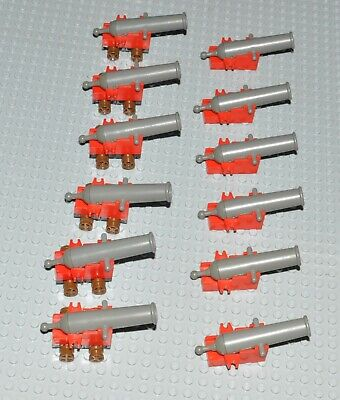 12x Lego Vintage Castle Pirate Cannons (6 with wheels)