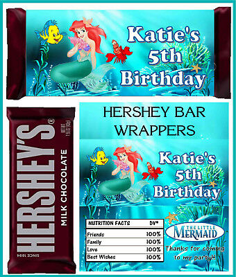 LITTLE MERMAID ARIEL BIRTHDAY PARTY FAVORS CANDY BAR HERSHEY BAR WRAPPERS
