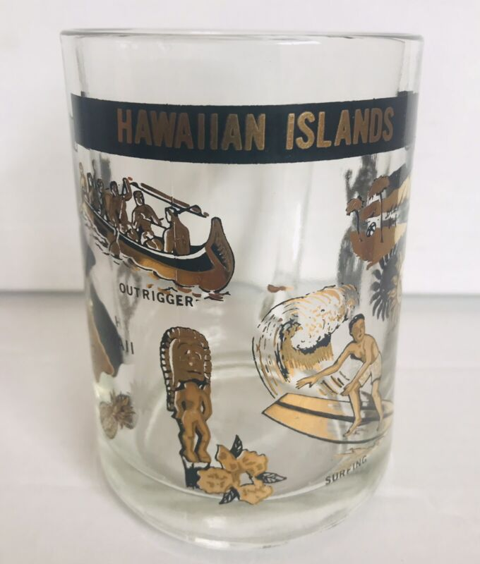 Hawaiian Islands Gold Gilt Beer Glass Mug Stein Hawaii Tiki Bar Aloha