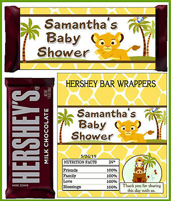 LION KING SIMBA BABY SHOWER FAVORS CANDY BAR WRAPPERS HERSHEY BAR - Baby Shower Candy Bar Wrappers