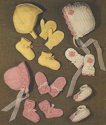 Bonnet Bootees Mitts Helmet Knitting and Crochet Patterns 3 sets in fine DK 893