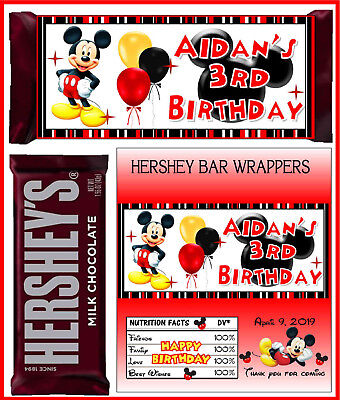 MICKEY MOUSE BIRTHDAY PARTY FAVORS CANDY BAR HERSHEY BAR WRAPPERS