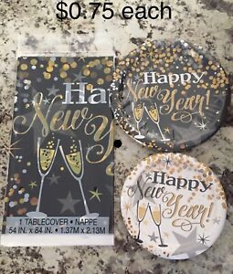 New Years plates and tablecloths