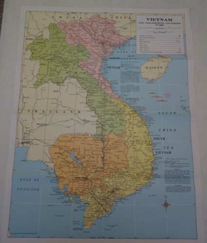 Hammond Vietnam and Neighboring Countries in 1968 Map Military Wartime