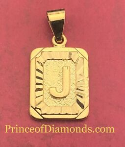 Gold coloured initial letter J pendant charm