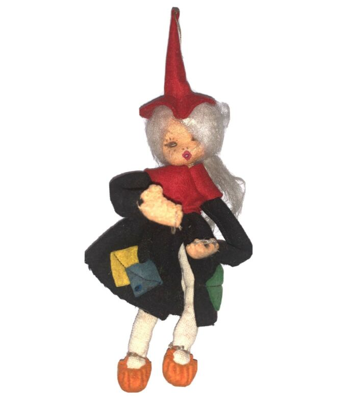 Vintage Halloween Felt Pose Witch Cloth Doll Japan