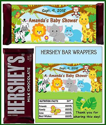 JUNGLE ZOO SAFARI BABY SHOWER FAVORS CANDY BAR WRAPPERS HERSHEY BAR - Baby Shower Candy Bar Wrappers