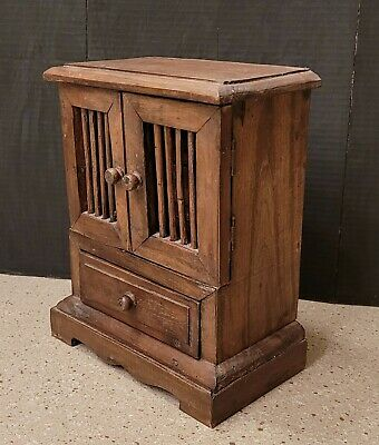 Rustic Farmhouse Wood Jewelry Box Chest Drawer Cabinet Armoire Spindle Doors