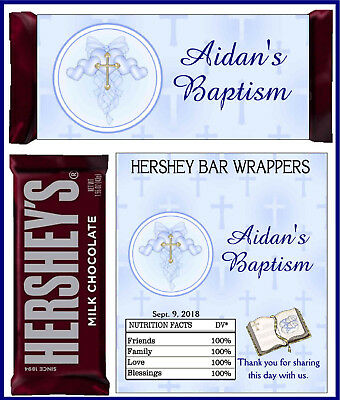 BAPTISM CHRISTENING PARTY FAVORS CANDY BAR HERSHEY BAR WRAPPERS BLUE