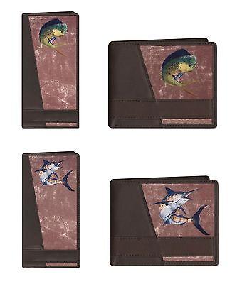 ZEP-PRO Genuine Leather Long Roper Wallet Checkbook Bifold MAHI DOLPHIN, MARLIN -