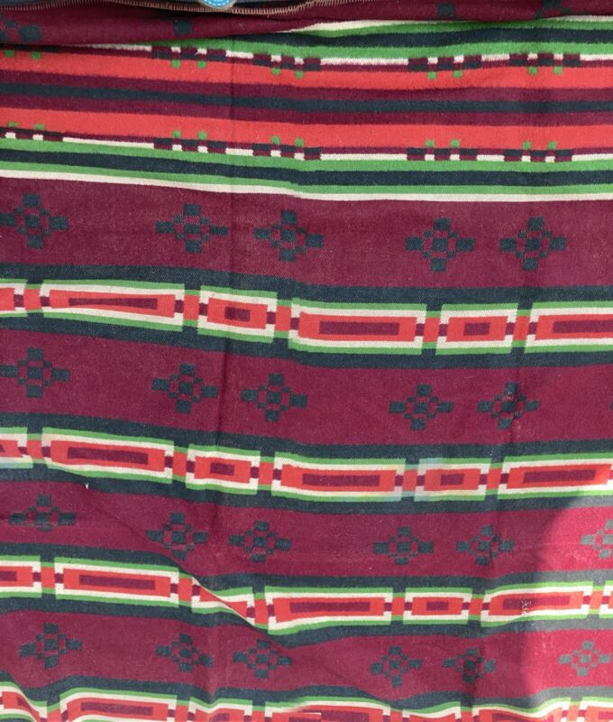 Antique Tribal Blanket 88x84 Reversible Camp Cabin Rustic
